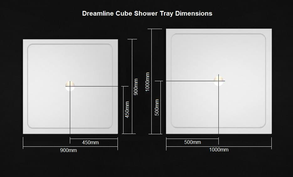 DreamLine Cube shower tray dimensions