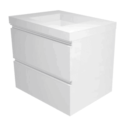 Linear 600 vanity 2 drawers Poly marble top