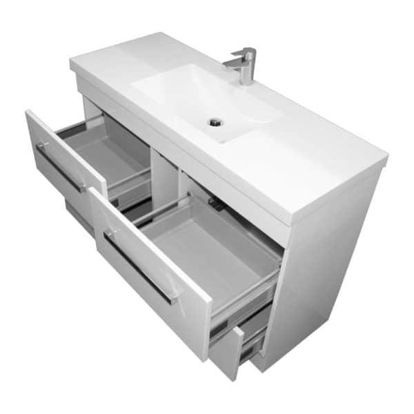 Strata floor vanity drawers open