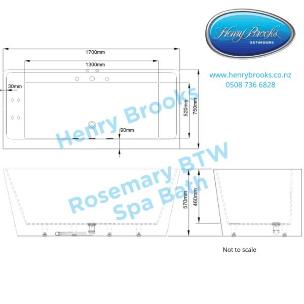 Rosemary BTW 1700 Spa Bath dimensions Henry Brooks