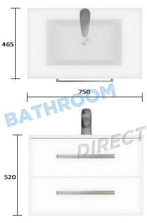Wall Hung Vanity Strata Duo 750mm wide