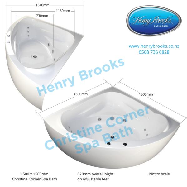 Christine Corner Spa bath dimensions Henry Brooks