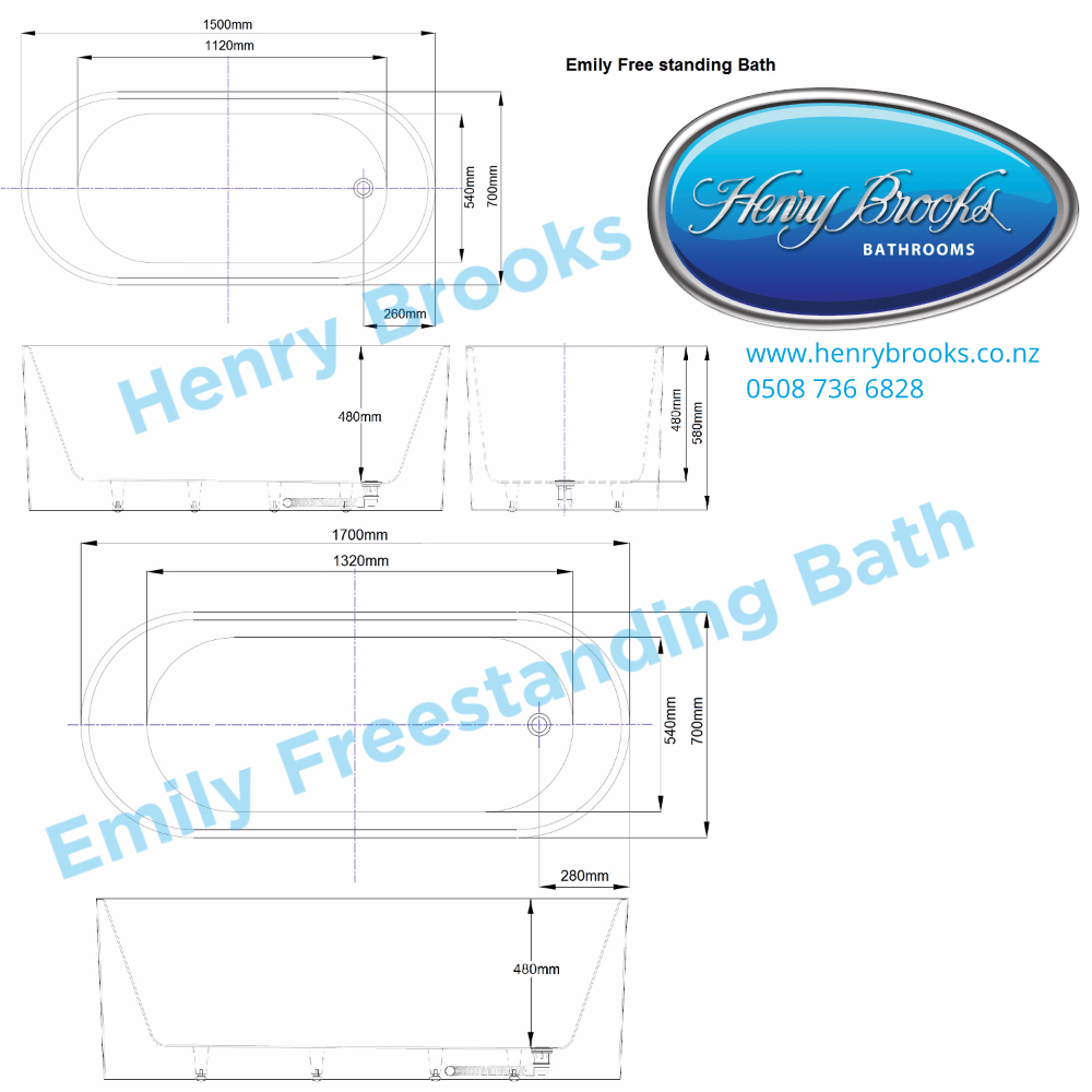 Freestanding Bath Emily 2 Sizes Available Henry Brooks Bathroomware