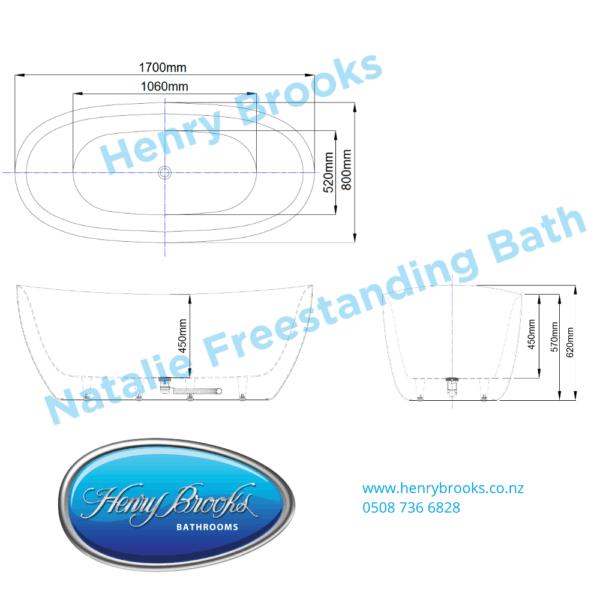 Natalie freestanding bath 1700 Henry Brooks