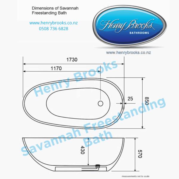 Savannah Freestanding Bath Henry Brooks dimensions
