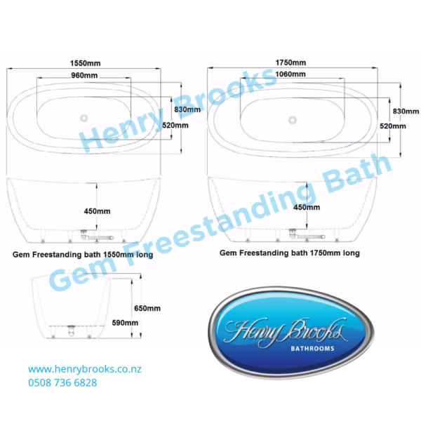 gem Freestanding bath 1550 and 1750 dimensions Henry Brooks