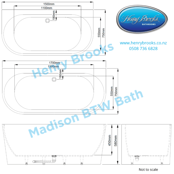 Madison Back to wall bath dimensions Henry Brooks