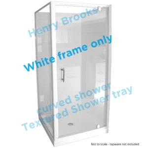 1000 x 1000 white framed shower textured tray H-Brooks