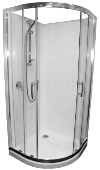 900 chrome curved shower cubicle flat liner Henry Brooks