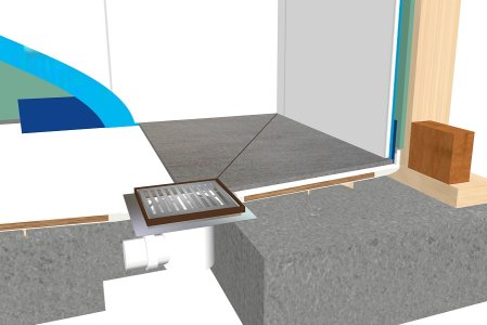 Tileable Shower Tray cross-section Henry Brooks