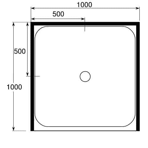 Square Shower Tray 1000 x 1000 3 sided center waste