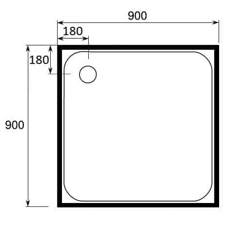 square shower tray 4 lip 900 x 900 rear waste