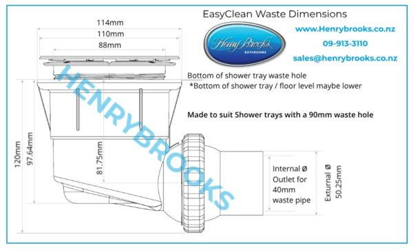 HB Easy Clean Waste dimensions