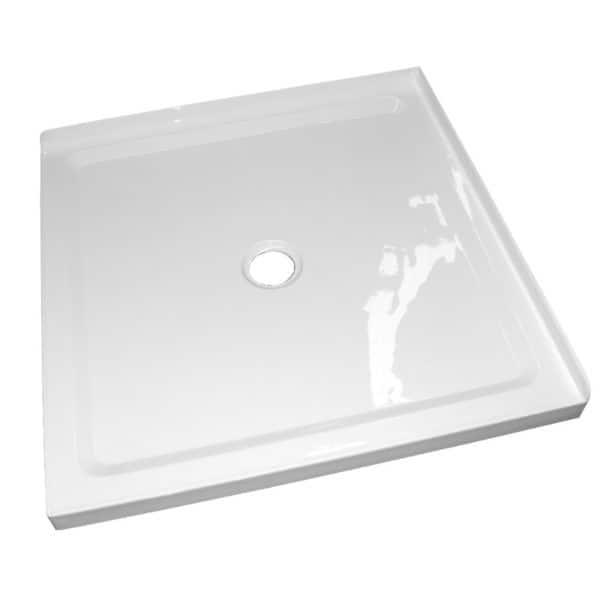 1m x1m 2 sided corner shower tray center waste 50mm step Henry Brooks