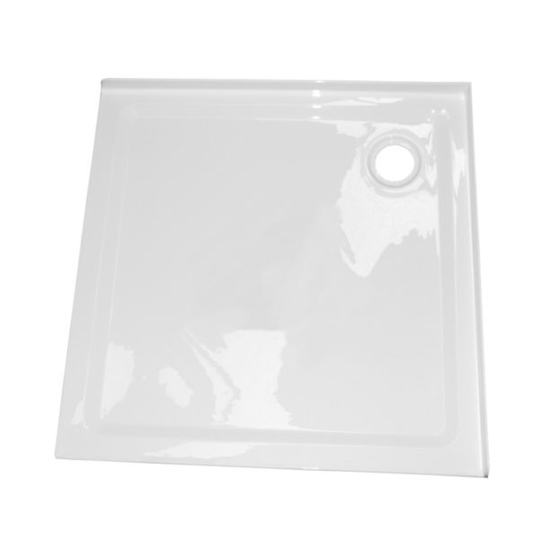 900 x900 2 sided corner shower tray rear waste 50mm step Henry Brooks