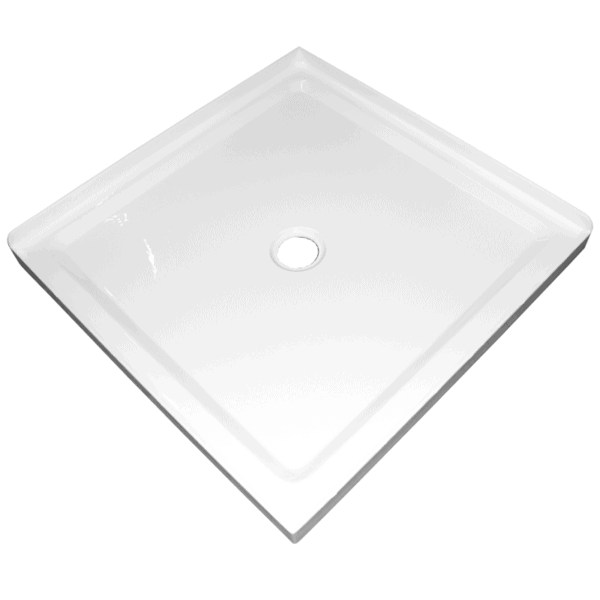 900mm x 900mm 2 sided corner shower tray center waste 50mm step Henry Brooks